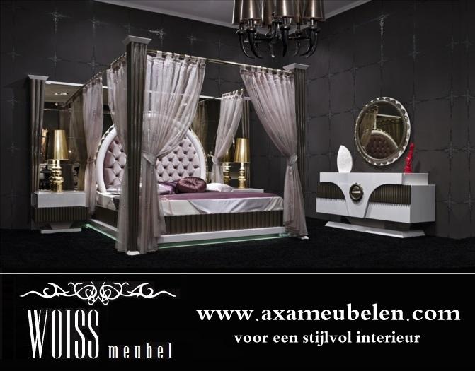 Nice Schlafzimmer Himmelbett Komplett #11: WOISS Möbel Neues Modell Hochglanz Himmelbett Gold Schlafzimmer