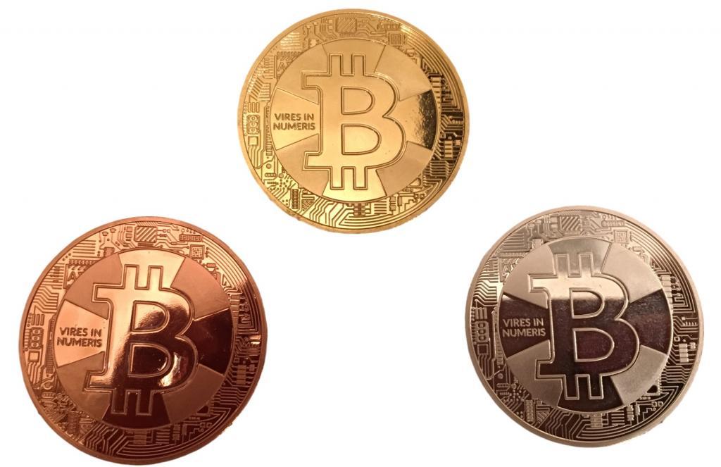 3er Set Bitcoin Münzen Gold Silber Bronze Angreifbare Bitcoin Münzen