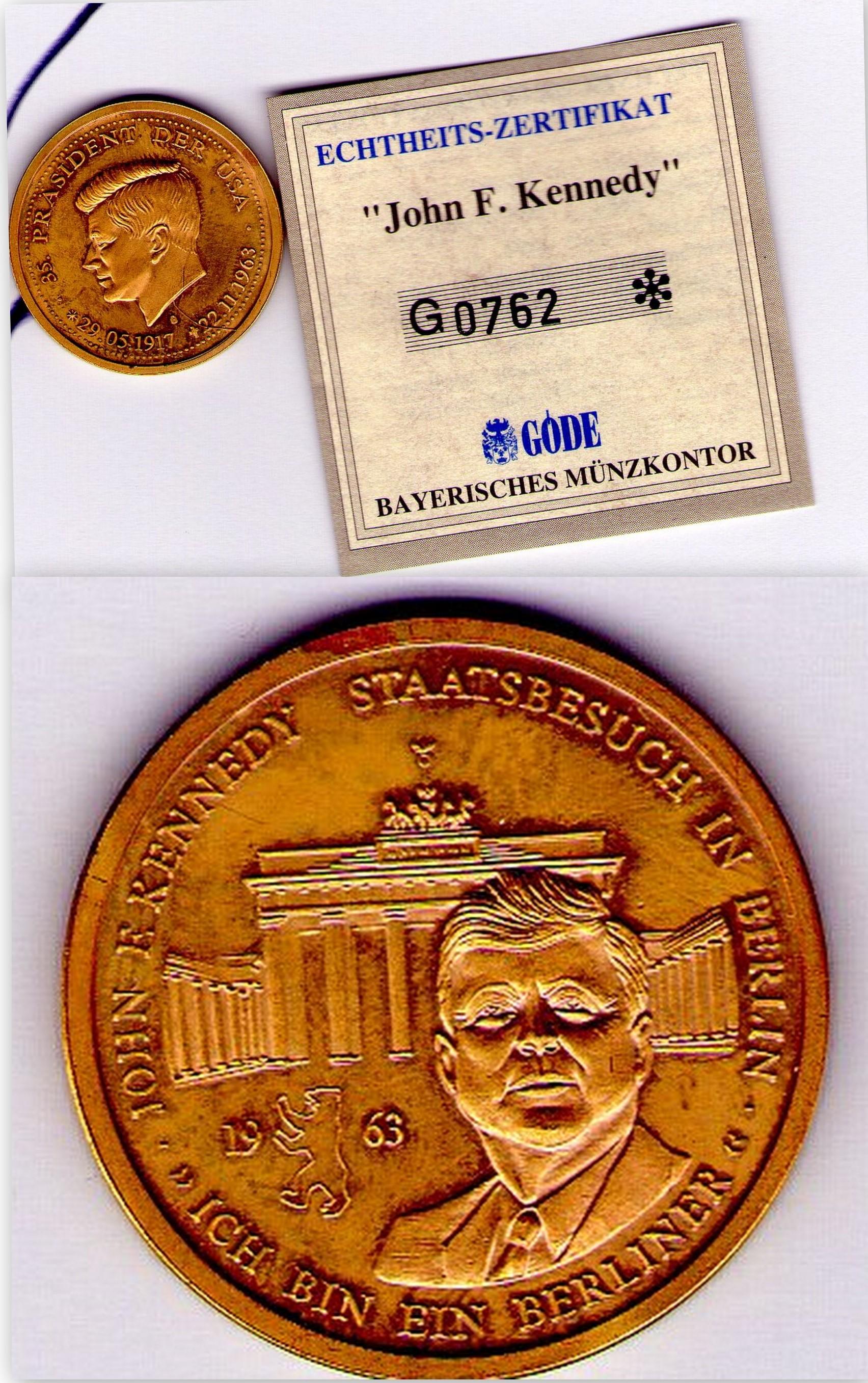 John Kennedy Münze Mit Echtheit Zertifikat In Mainz Sammlungen