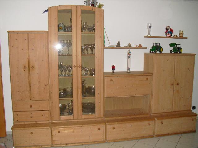 Wohnzimmer Schrank Glasvitrine Esstisch Sthle Helle Fichte Massiv Gewachst