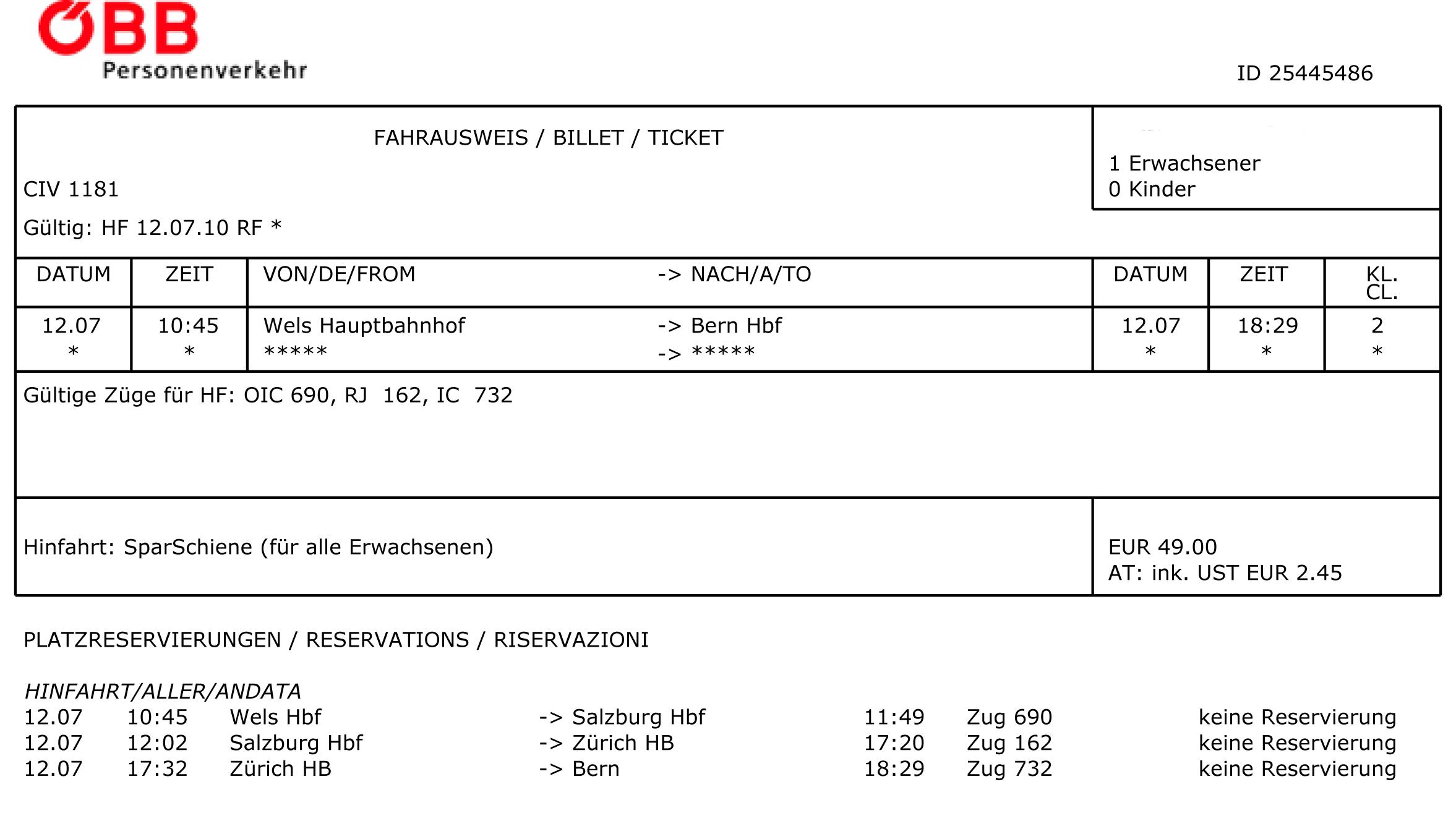 öbb Sparschiene Ticket 12 Juli 2010 Von Wels Nach Bern In Hagenberg