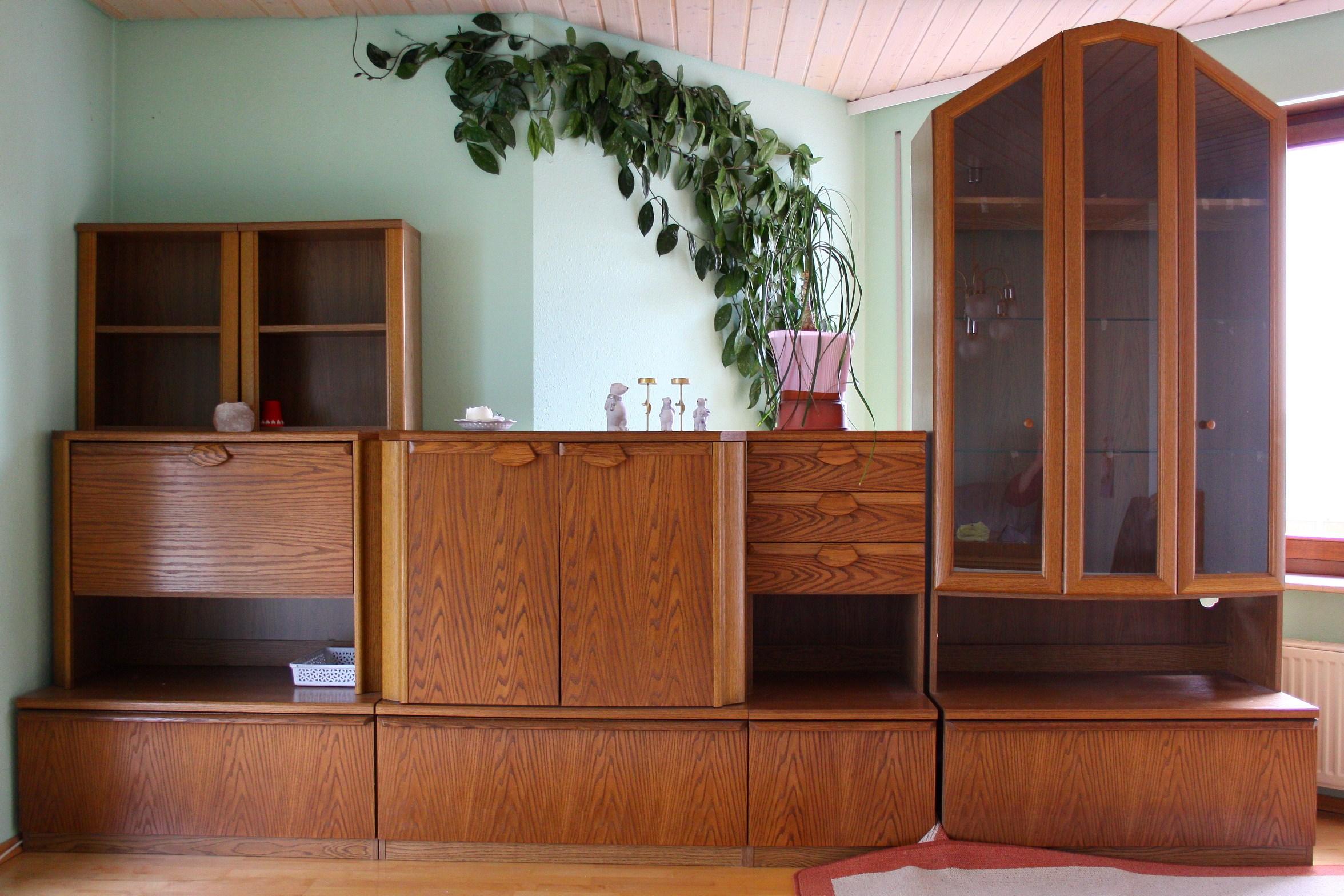 schrankwand eiche furniert 3 40m. Black Bedroom Furniture Sets. Home Design Ideas
