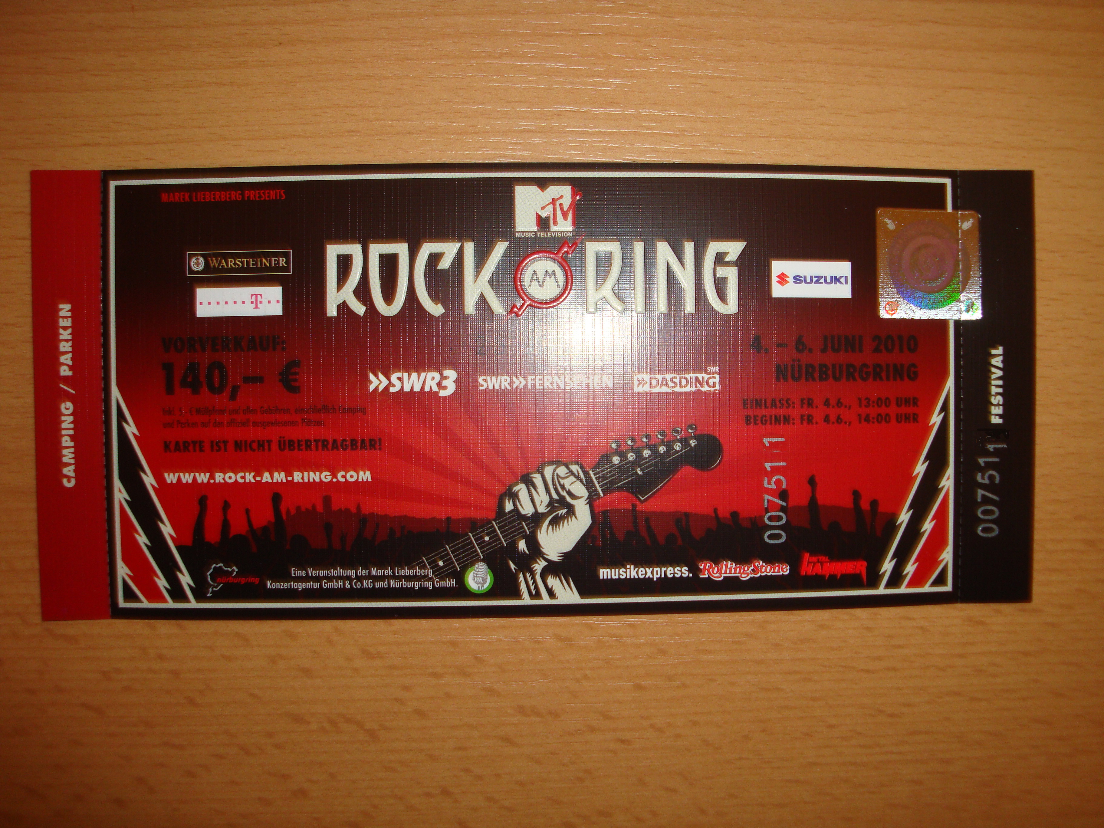 Rock Am Ring Karte.Tages Tickets Hardcover Für Rock Am Ring 2010 Inkl Camping In