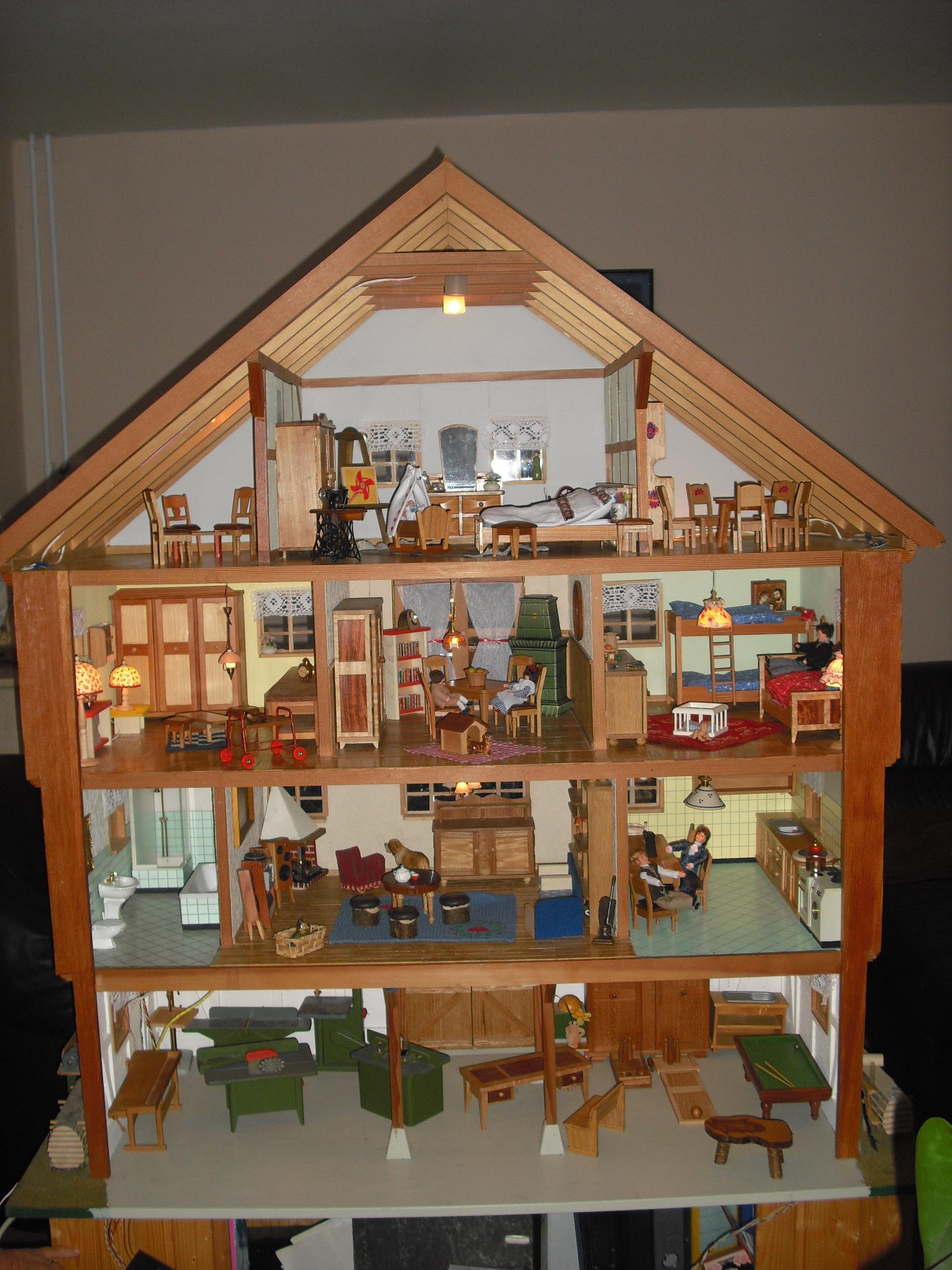 grosses puppenhaus puppenstube mit licht strom handarbeit in, Moderne