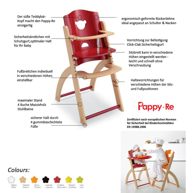 Hoch Stuhl Baby Pappy Re aus Holz mitwachsend von Pali ...