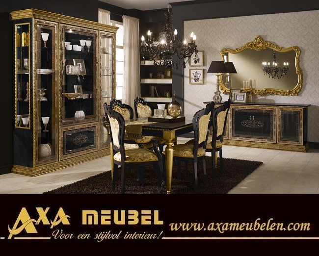 Schwarz Gold Wohnzimmer Klassische Italienische Stil AXA Möbel