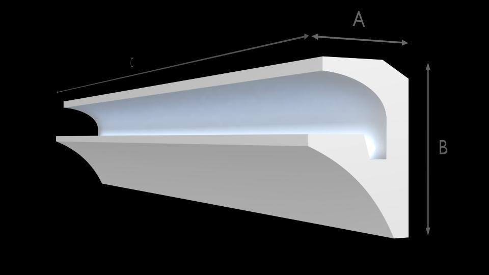 Leisten FL Polystyrol Stuckleiste Lichtprofile Gesims Beleuchtung 6M-24M