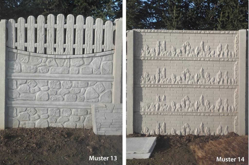 Gut bekannt Betonzaun Gartenmauer aus Beton verschiedene Muster einseitig EQ95