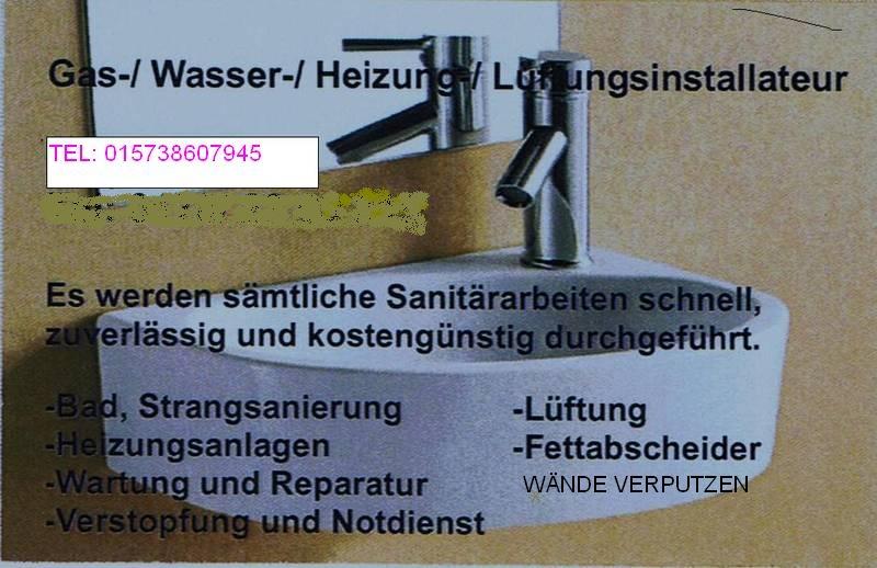 rohrleger gasheizung w nde verputzen in berlin handwerk hausbau garten kleinanzeigen. Black Bedroom Furniture Sets. Home Design Ideas