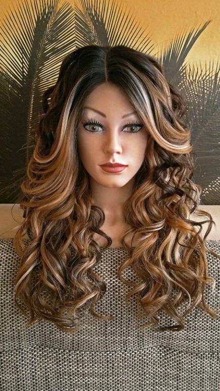 per cke spitzenper cke lace wig front silk top ombre farb mix blond braun schwar in leipzig. Black Bedroom Furniture Sets. Home Design Ideas