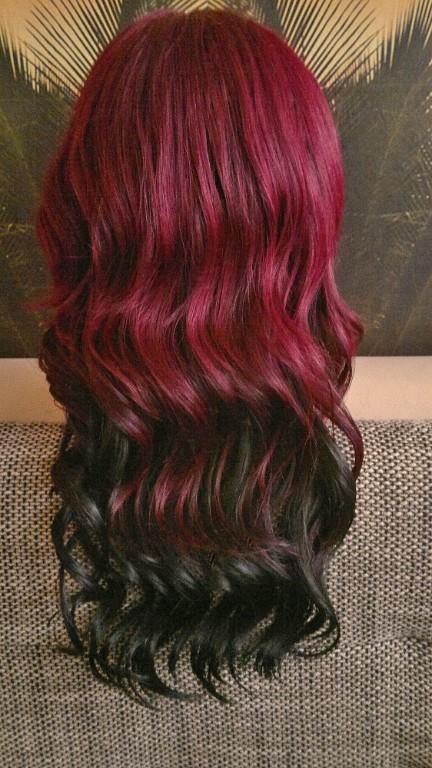 per cke spitzenper cke lace wig front lang ombre rot schwarz gelockt locken curl in leipzig. Black Bedroom Furniture Sets. Home Design Ideas