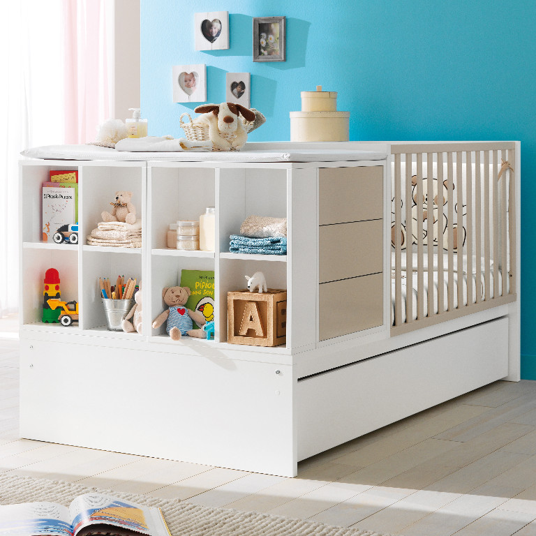 kinderbett umbaubar zum jugendzimmer voyager komplett mit wickelauflage ne in dresden baby und. Black Bedroom Furniture Sets. Home Design Ideas
