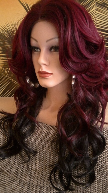 per cke spitzenper cke lace wig front lang ombre rot. Black Bedroom Furniture Sets. Home Design Ideas